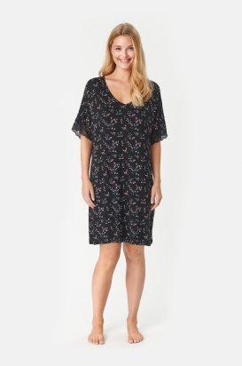 Kvetovaná nočná košeľa Lucille s krátkymi čipkovými rukávmi 621519