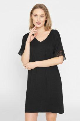 Jednofarebná nočná košeľa Lucille Black s krátkymi čipkovými rukávmi 620559