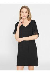 Jednobarevná noční košile Lucille Black s krátkými krajkovými rukávy 620559