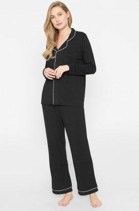 Elegantní pyžamo Joy pánského střihu s límečkem