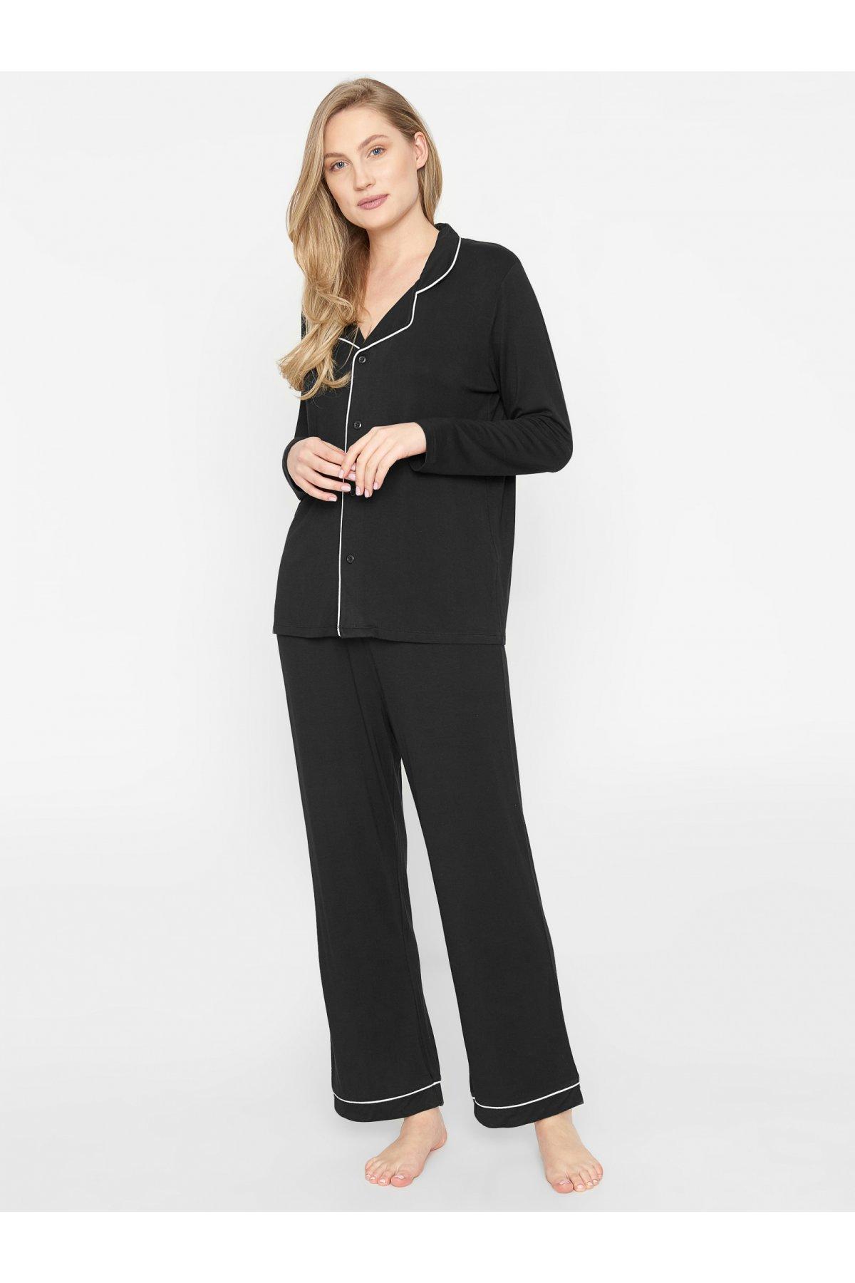 Elegantné pyžamo Joy pánskeho strihu s golierom 621415